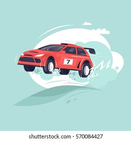 Rally car jumping. Flat vector illustration in cartoon style.