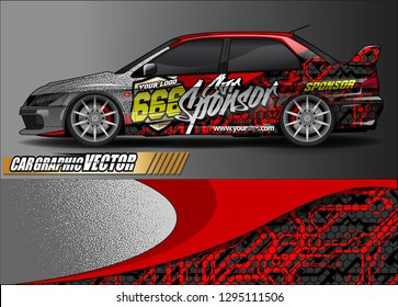 rally car livery design vector. abstract race style background for vehicle vinyl sticker wrap