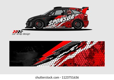 rally car livery Graphic vector. design of  abstract racing background for vehicle vinyl wrap