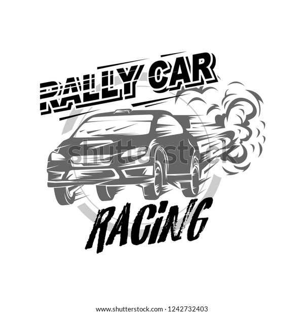 Rally car racing vector, Rally car logo vector