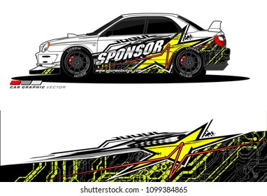 Rally car vector Livery. abstract lines for vehicle wrap designs