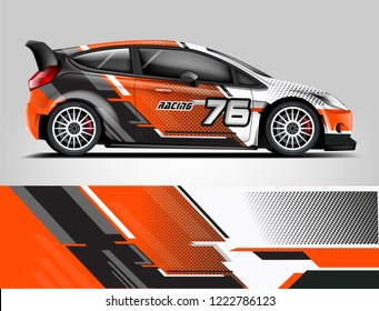 Rally Car Wrap design. Graphic abstract stripe racing background designs for vehicle, race, rally, adventure and car racing livery.