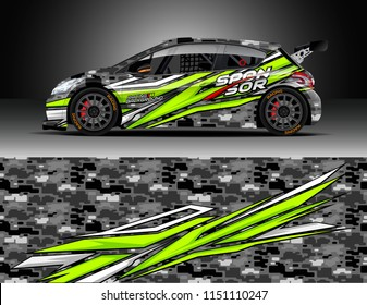 Rally car wrap design vector, truck and cargo van decal. Graphic abstract stripe racing background designs for vehicle, race, adventure and car racing livery.