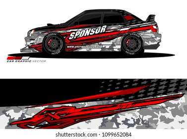 Rally car wrap vector designs. abstract livery for vehicle vinyl branding