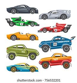 Rally sport car vector automobile offroad rally-raid fast motor cart racing auto driver transport motorsport illustration.