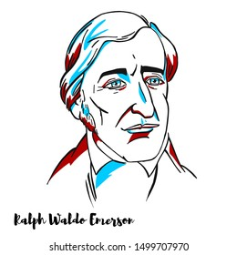 Ralph Waldo Emerson engraved vector portrait with ink contours. American essayist, lecturer, philosopher, and poet who led the transcendentalist movement of the mid-19th century.