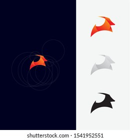 Ram or goat animal idea concept logo design vector icon illustration inspiration. looks professional and modern with golden ratio. unique geometric shape style logos