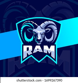 ram goat head mascot esport logo design