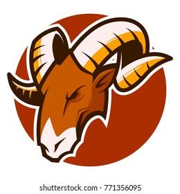 Ram Goat Head Mascot esports logo illustration