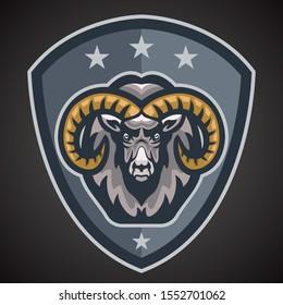 Ram, Goat Mascot team logo with shield, color illustration.