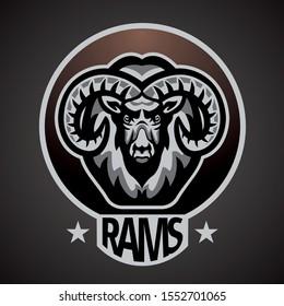 Ram, Goat Mascot team logo inside the circle, color illustration.