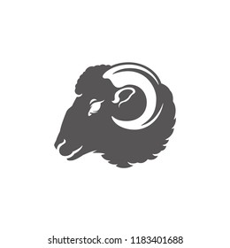 Ram head silhouette vector illustration. Farm animal or butcher shop graphics isolated on white background.