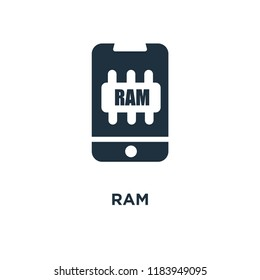 Ram icon. Black filled vector illustration. Ram symbol on white background. Can be used in web and mobile.