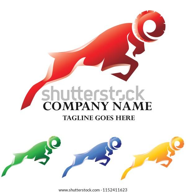 Ram Jumping Vector Logo Business Design