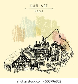 Ram Kot village in Nepal. Traditional Nepalese houses in the Himalayan mountains. Trekking destination. Vintage touristic postcard in vector