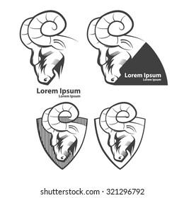 ram for logo, american football symbol, simple illustration, sport team emblem, design elements and labels