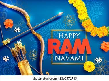 Ram Navami (Birthday of Lord Rama) greeting card for Hindu spring festival Navratri. Vector illustration.