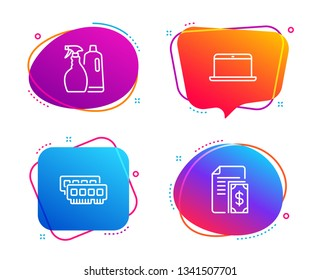 Ram, Shampoo and spray and Laptop icons simple set. Payment sign. Random-access memory, Washing liquids, Mobile computer. Cash money. Speech bubble ram icon. Colorful banners design set. Vector