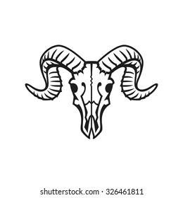Ram skull logo or icon black on white.