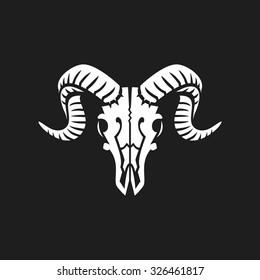 The ram skull logo or icon  white on black.