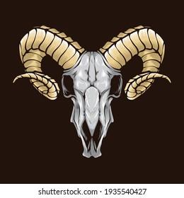 ram skull vector logo illustration