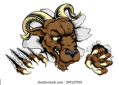 Ram sports mascot breakthrough concept of a ram sports mascot or character breaking out of the background or wall