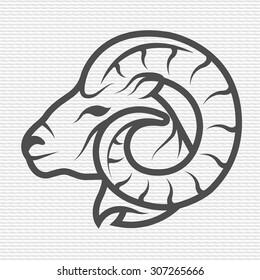 Ram symbol, logo, emblem. Contour Design.