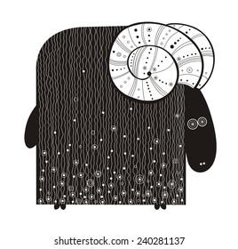 Ram. Vector illustration.