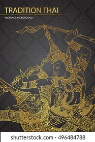 Rama battle a giant on pattern background vector