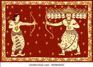Rama killing Ravana during Dussehra in vector