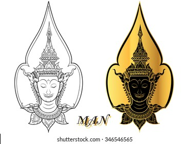 rama thai face vector