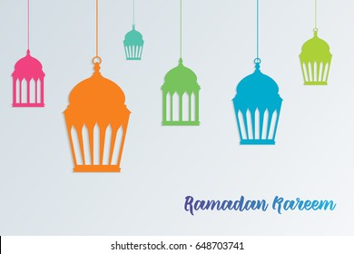 Ramadam kareem - islamic muslim holiday background or greeting card, with textured ornamental calligraphy, and eid holiday lanterns or lamps, abstract artistic vintage. Vector illustration eps 10.