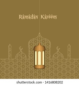 Ramadam Kareem poster with a traditional arabic building - Vector