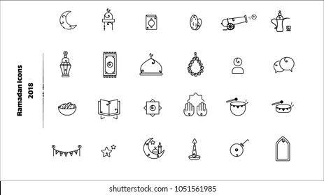 Ramadan 2018 Outline Icons