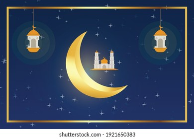 Ramadan 2021 background design illustration - Shutterstock ID 1921650383