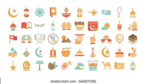 ramadan arabic islamic celebration icon set vector illustration tone color icon