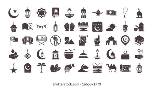 ramadan arabic islamic celebration icon set vector illustration silhouette style icon
