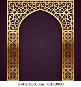 Ramadan Backgroud with Golden Arch, with  golden arabic pattern, EPS 10 contains transparency