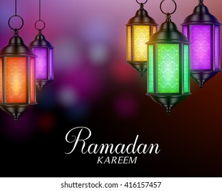 Ramadan Background with Colorful Set of Lanterns or Fanous and Ramadan Kareem Greetings. 3D Realistic Vector Illustration