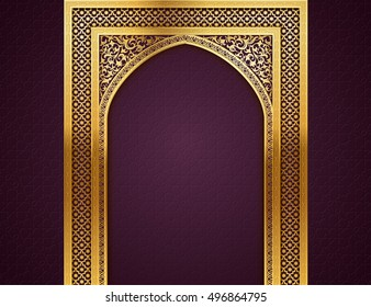 Ramadan background with golden arch, with golden arabic pattern, background for holy month of muslim community Ramadan Kareem, EPS 10 contains transparency