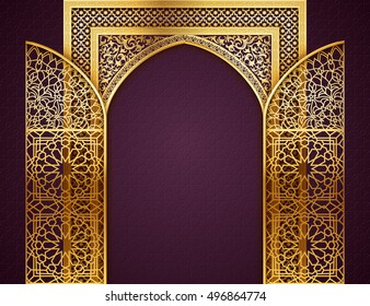 Ramadan background with golden arch, wit opened doors, with golden arabic pattern, background for holy month of muslim community Ramadan Kareem, EPS 10 contains transparency