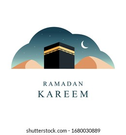 Ramadan Background with Ka'bah. Ramadan Kareem Simple Design.