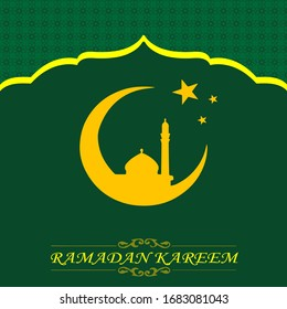 Ramadan background with mosque, star and moon vector ornaments Free Vector editable template