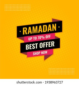 Ramadan best offer yellow and black abstract sale banner