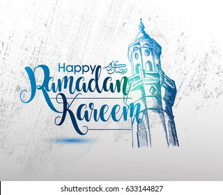Ramadan Calligraphy Vector with Hand drawn Mosque tower with Grunge Background. You can use for Poster, Greeting card and Invitation Card.