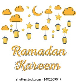 Ramadan Careem Candle Mubarak Vector Illustration Design