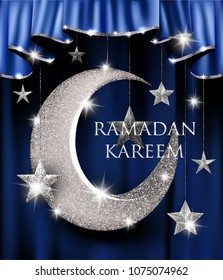 Ramadan careem greeting card with silver stars and moon. Vector illustration