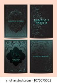 Ramadan careem greeting card wit arabic design elements. Vector illustration