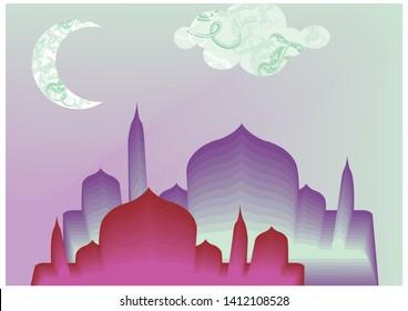 Ramadan careem ttypical arabic lanscape with moon vector Eps 10