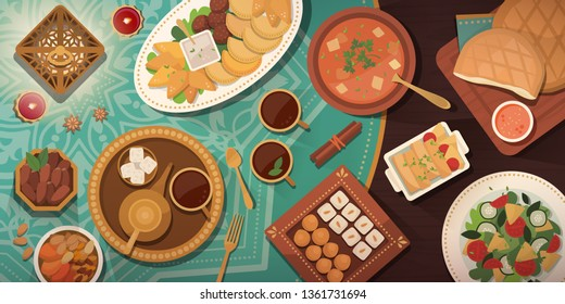 Ramadan celebration with Iftar meal: traditional recipes and dishes on a decorated table top view